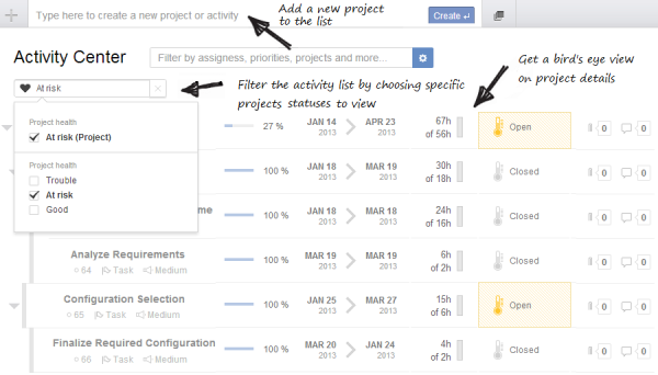 EasyProjects activities screenshot
